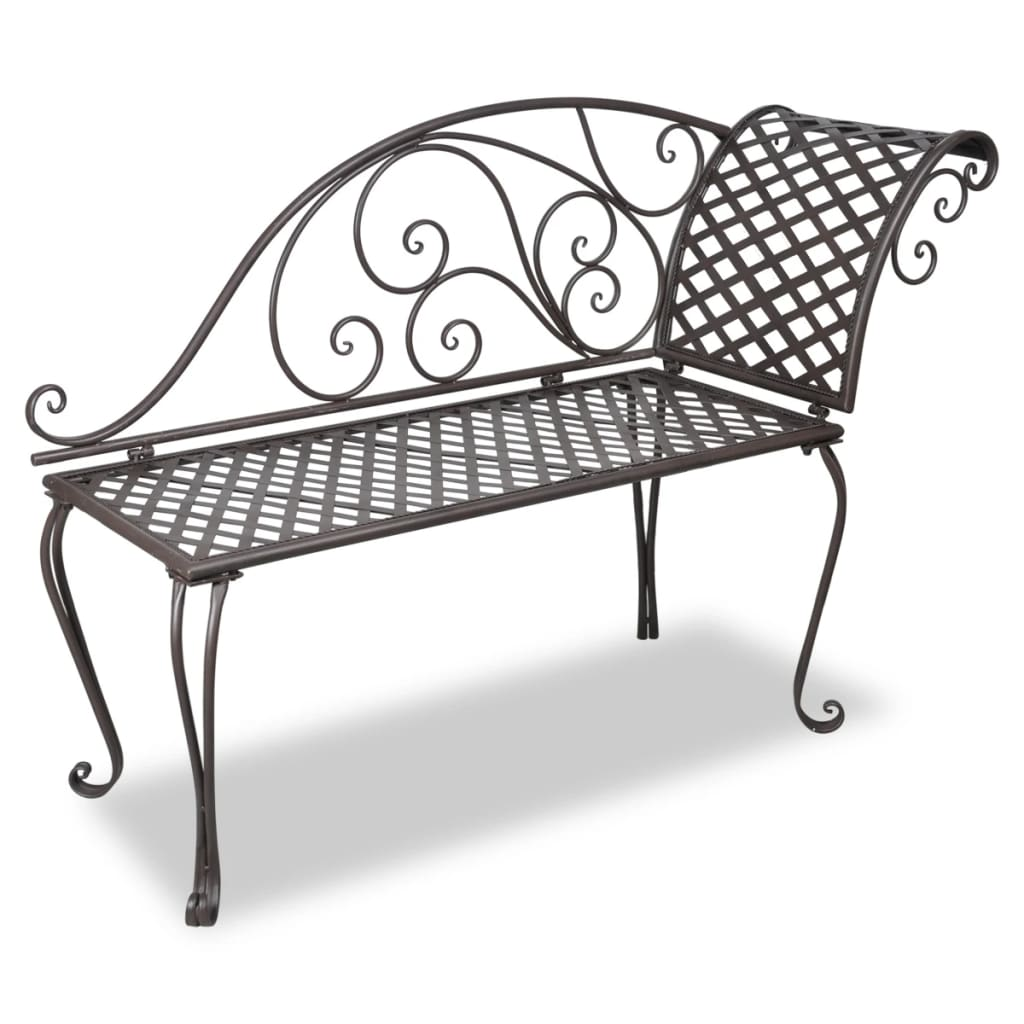 vidaxl metal garden chaise lounge antique brown rose patterned. Black Bedroom Furniture Sets. Home Design Ideas