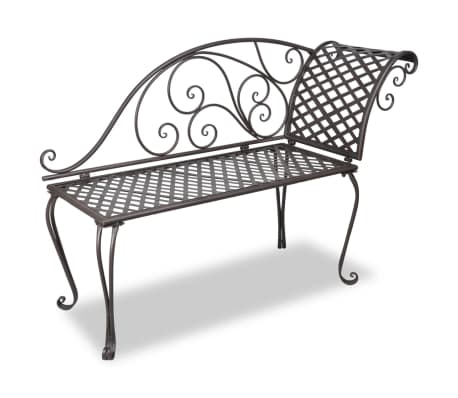 metal garden chaise lounge antique brown rose patterned. Black Bedroom Furniture Sets. Home Design Ideas