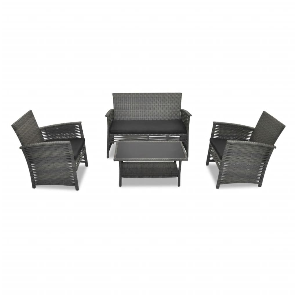 der 4 tgl poly rattan sofa gartengarnitur gartenm bel grau online shop. Black Bedroom Furniture Sets. Home Design Ideas