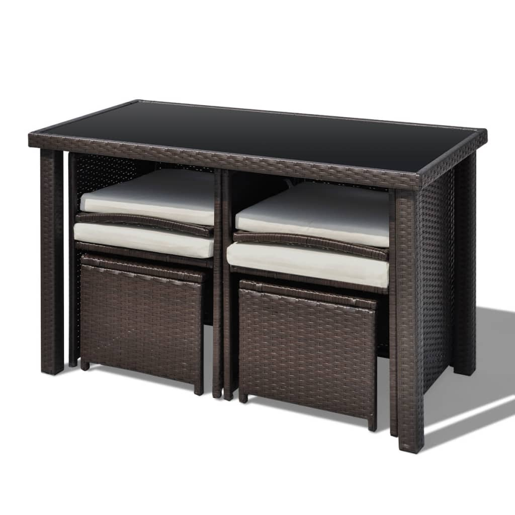 poly rattan gartenm bel 1 tisch 2 st hle 2 hocker braun g nstig kaufen. Black Bedroom Furniture Sets. Home Design Ideas