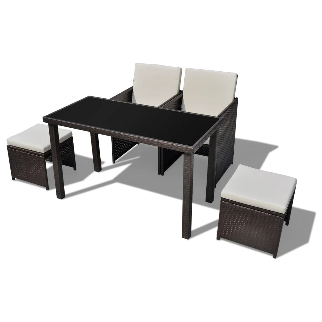 der poly rattan gartenm bel 1 tisch 2 st hle 2 hocker. Black Bedroom Furniture Sets. Home Design Ideas