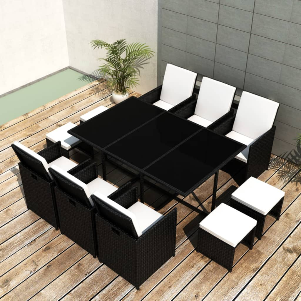 poly rattan gartenm bel 1 tisch 6 st hle 4 hocker schwarz g nstig kaufen. Black Bedroom Furniture Sets. Home Design Ideas