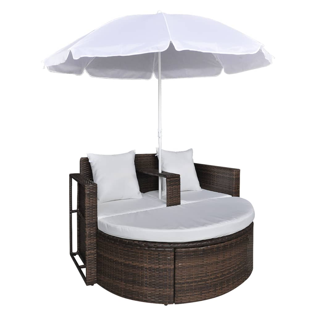 Brown Garden Poly Rattan Lounge Set with Parasol Outdoor vidaXL com