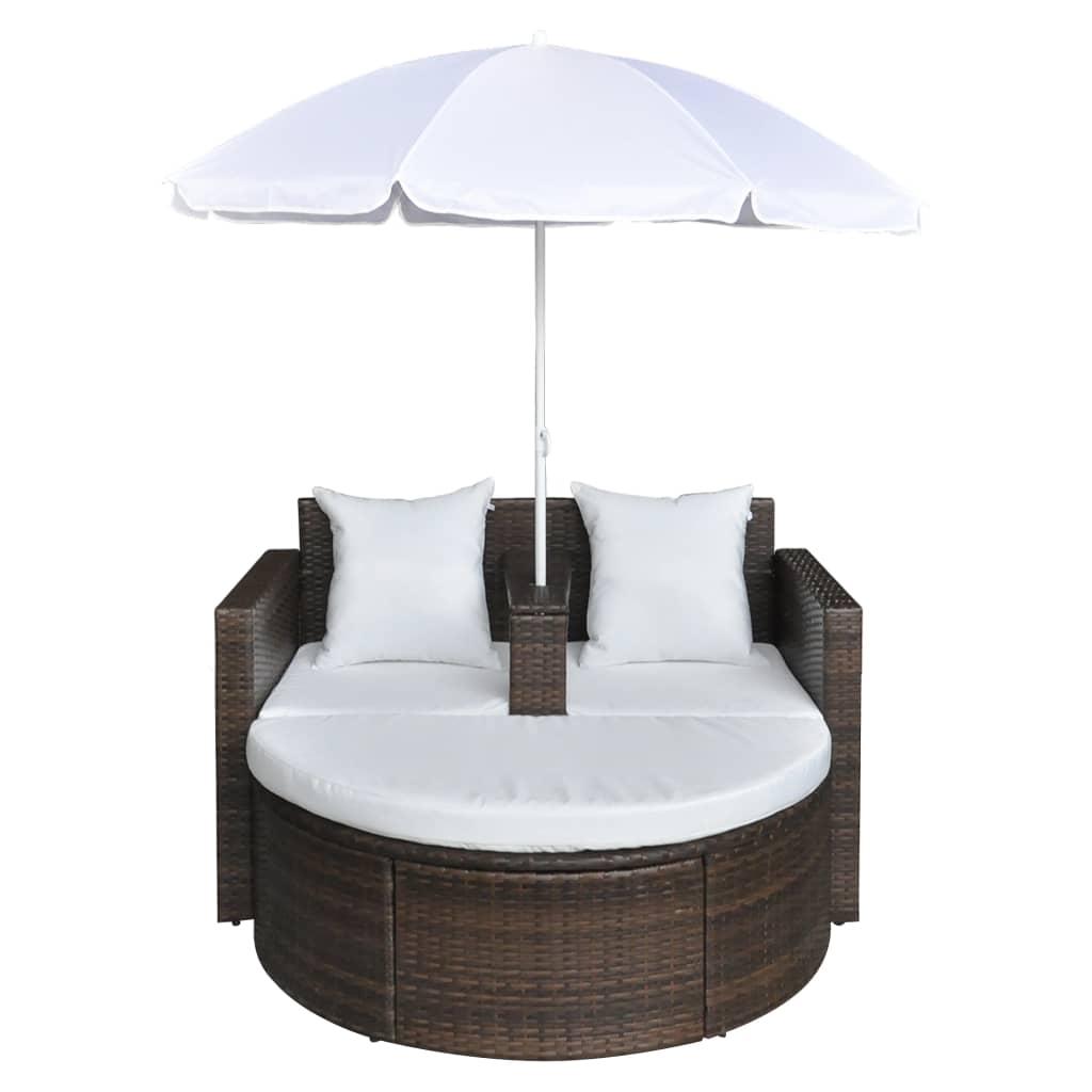 Acheter canap de 2 places rond brun avec le parasol pas for Canape rond 2 places