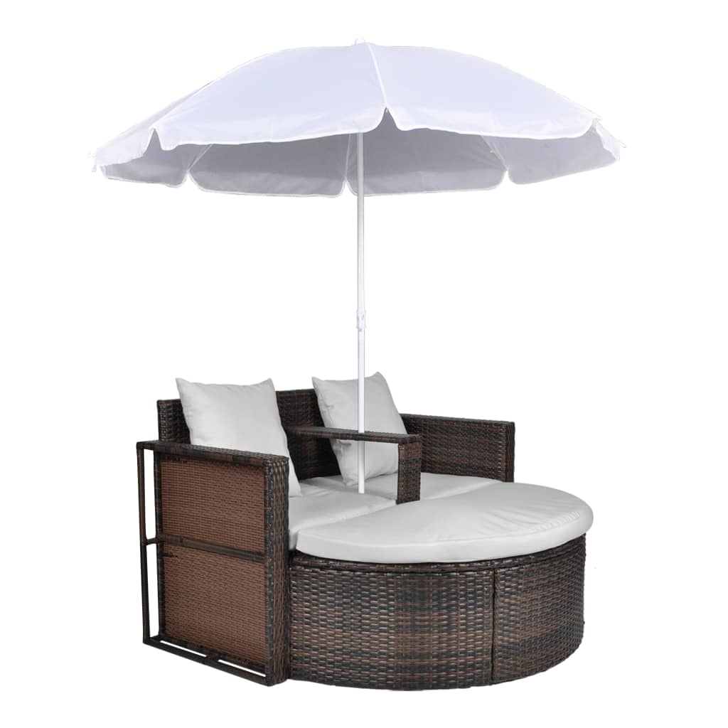 Rattan lounge  Brown Garden Poly Rattan Lounge Set with Parasol Outdoor | vidaXL.com