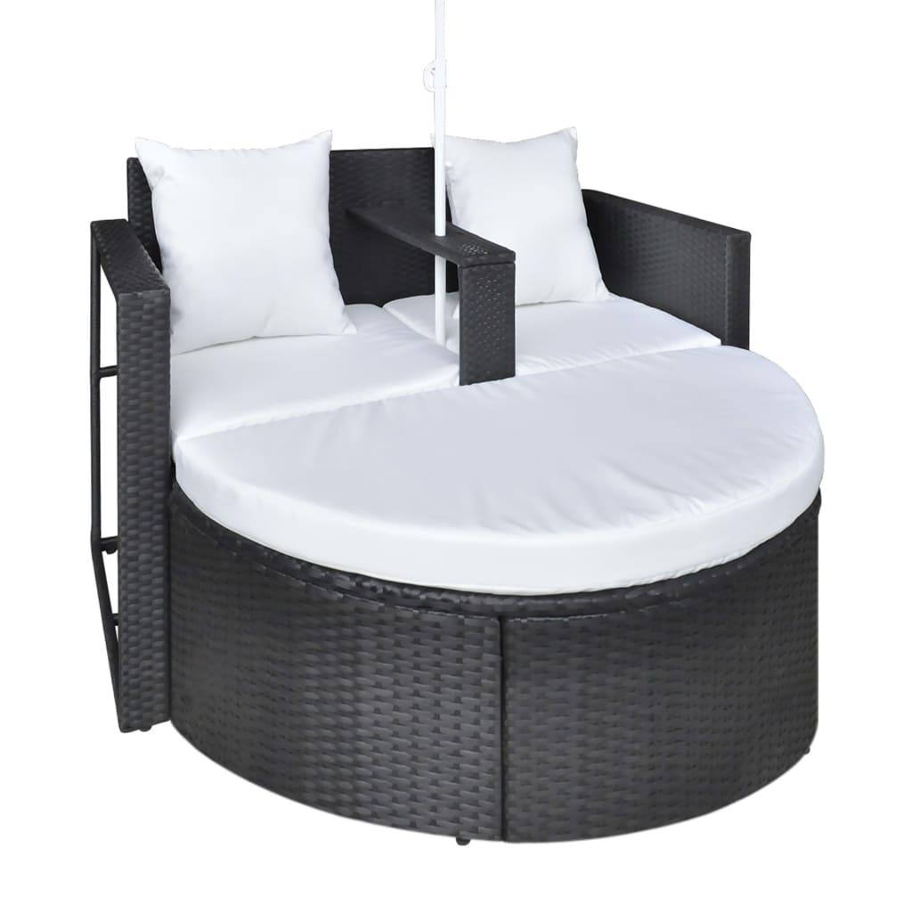 la boutique en ligne canap de 2 places rond noir avec le parasol. Black Bedroom Furniture Sets. Home Design Ideas