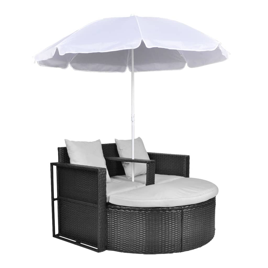 black garden poly rattan lounge set with parasol outdoor. Black Bedroom Furniture Sets. Home Design Ideas