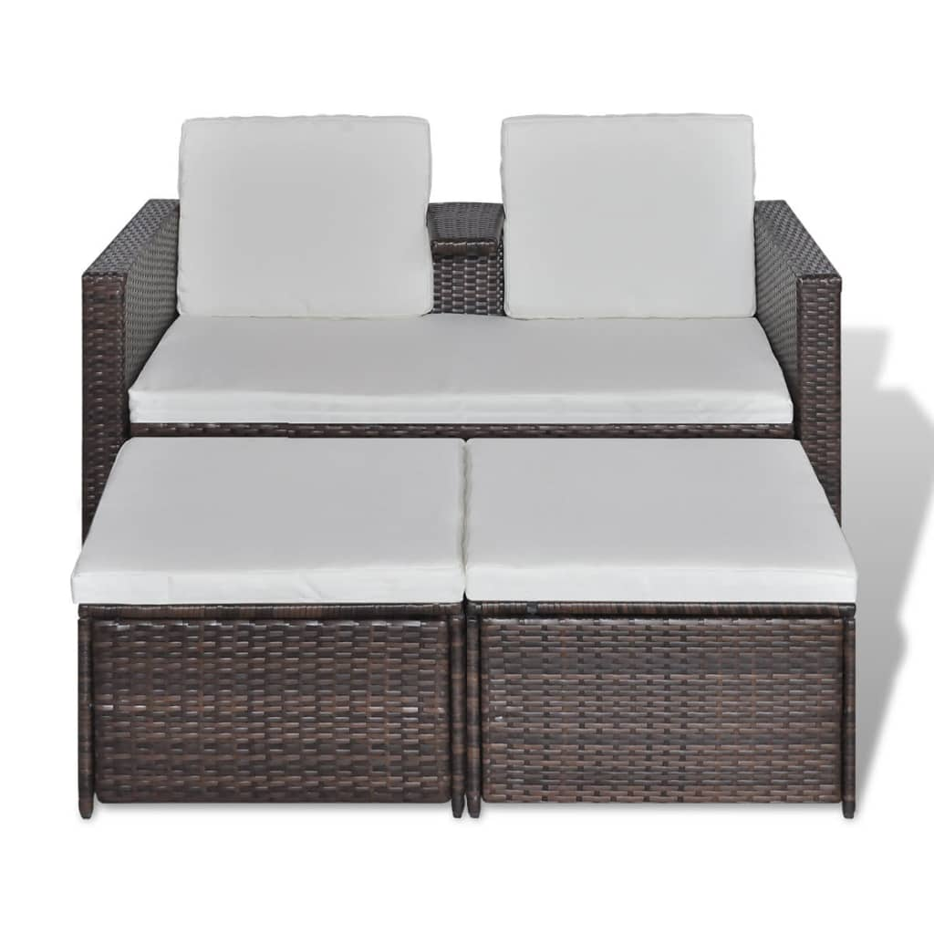 der poly rattan liege garten sonnenliege gartenliege braun online shop. Black Bedroom Furniture Sets. Home Design Ideas