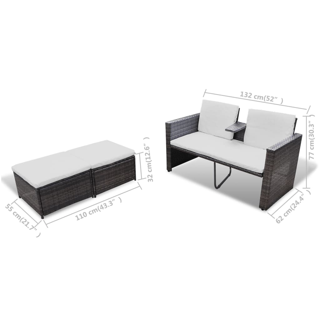 acheter vidaxl mobilier de jardin marron r sine tress e. Black Bedroom Furniture Sets. Home Design Ideas