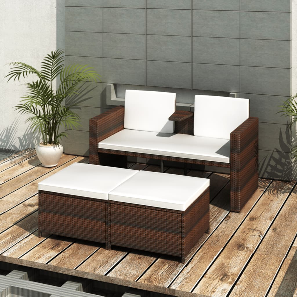 vidaxl conjunto de div n marr n con 2 reposapi s de poli rat n de jard n. Black Bedroom Furniture Sets. Home Design Ideas