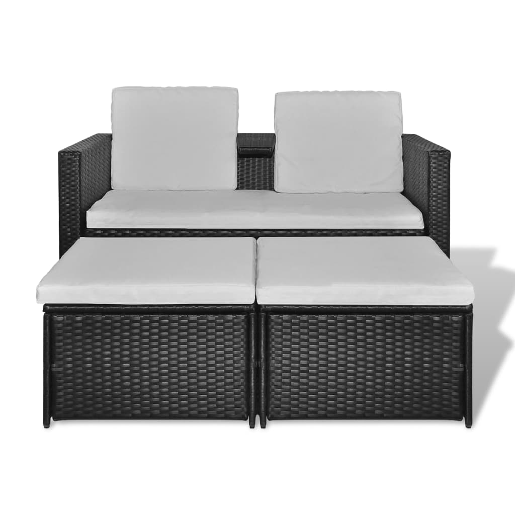 acheter vidaxl mobilier de jardin noir r sine tress e pas. Black Bedroom Furniture Sets. Home Design Ideas