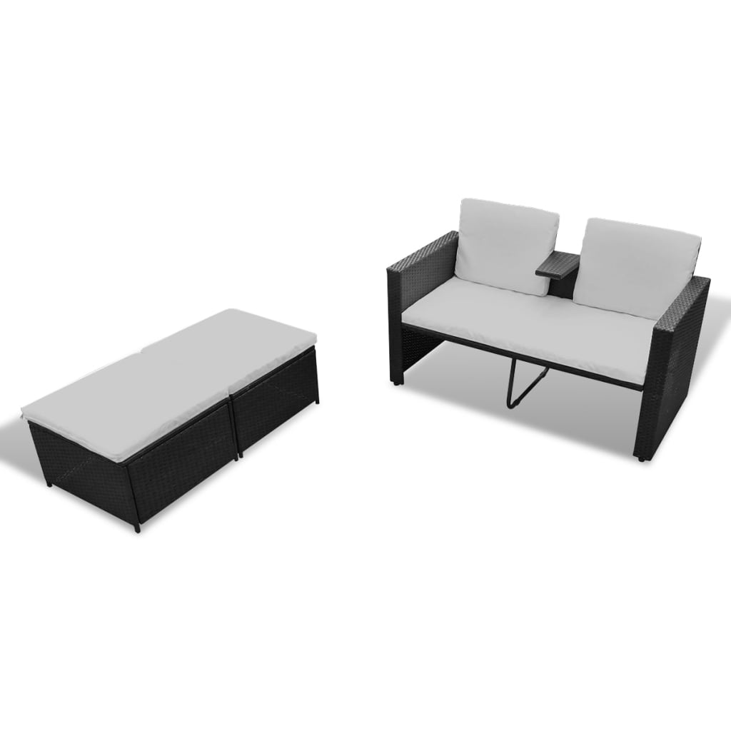 acheter vidaxl mobilier de jardin noir r sine tress e pas cher. Black Bedroom Furniture Sets. Home Design Ideas