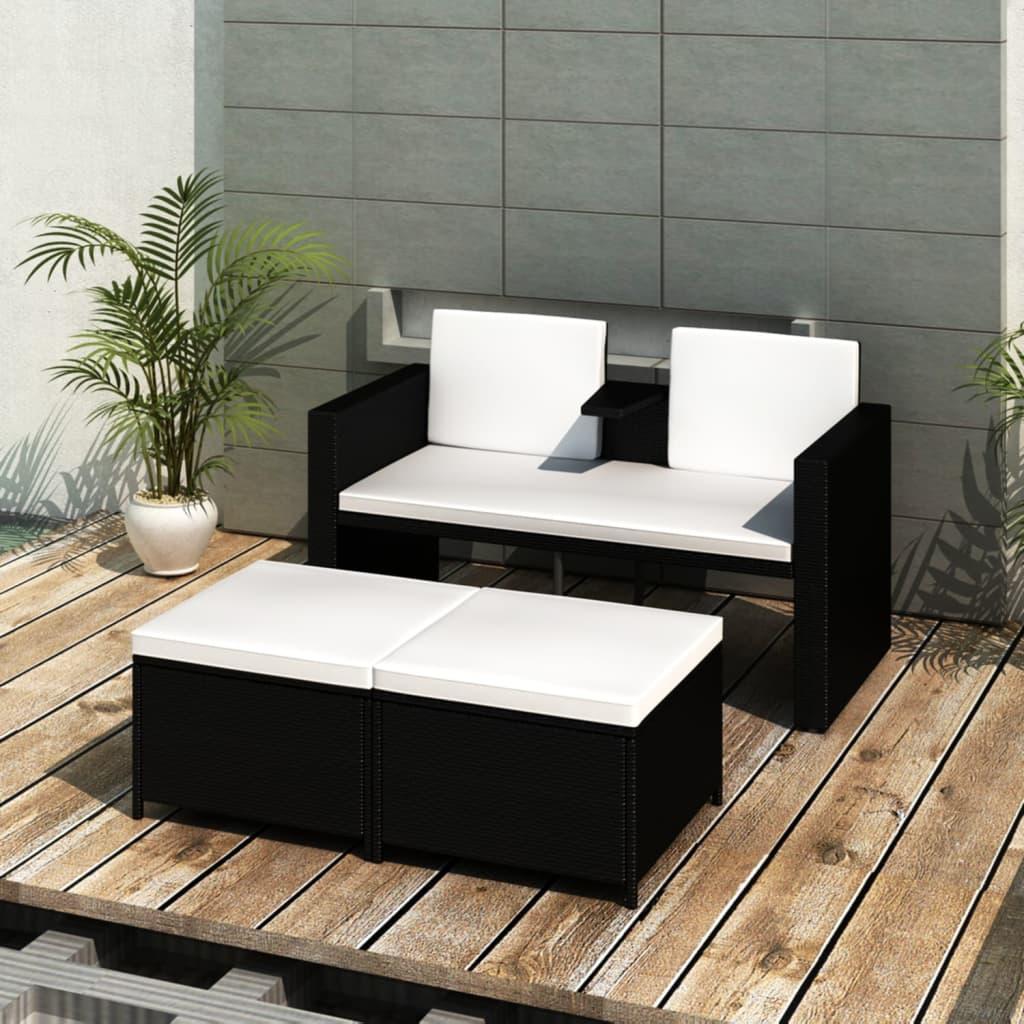 Conjunto de diván negro con 2 reposapiés de poli ratán de jardín ...