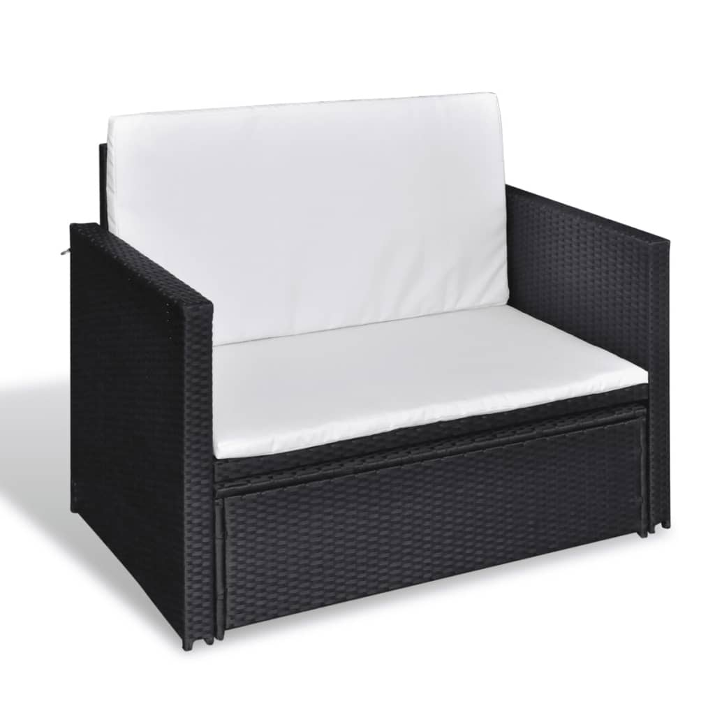 la boutique en ligne 3 en 1 canap lit en rotin noir. Black Bedroom Furniture Sets. Home Design Ideas