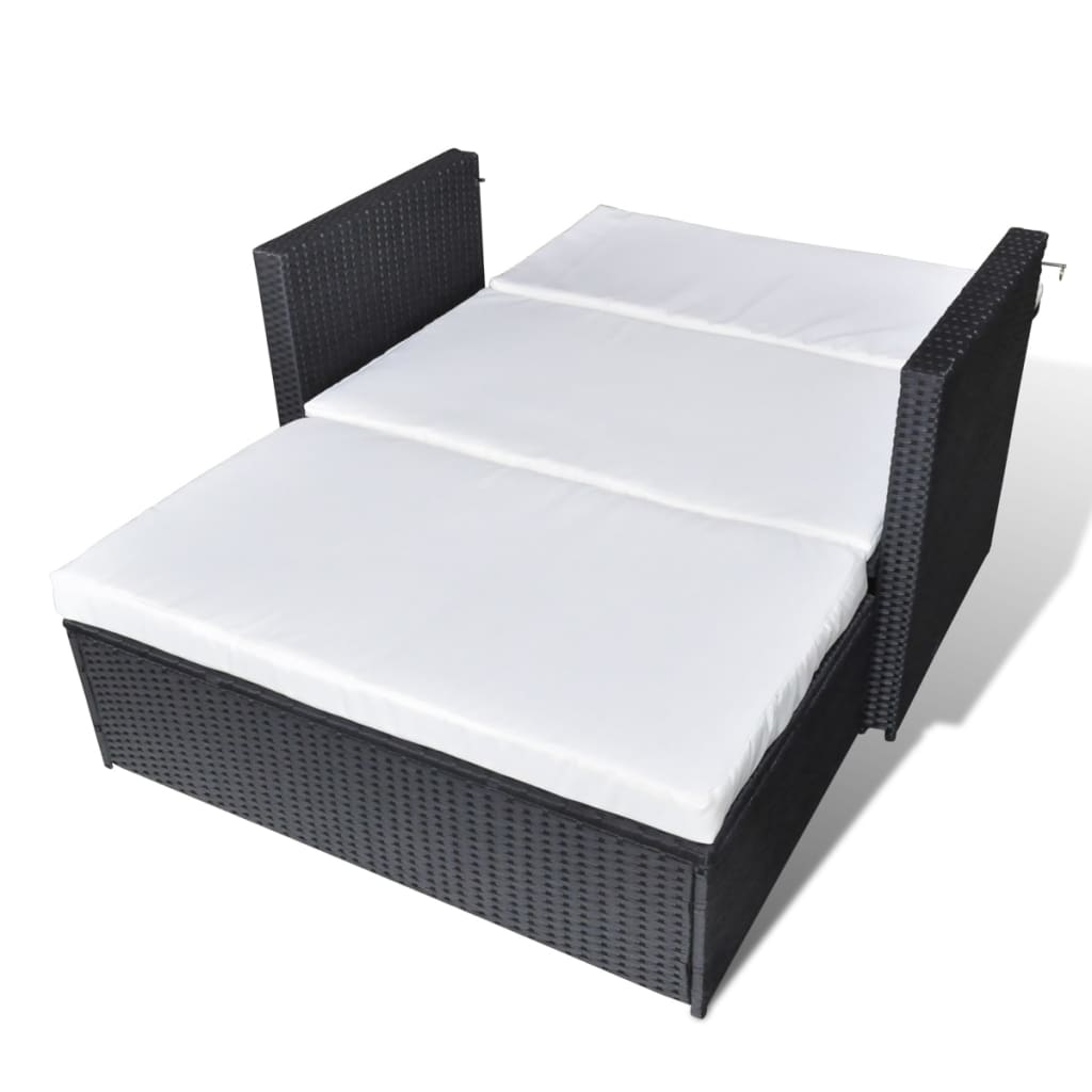vidaxl 3 in 1 sofabed set folding rattan sofa bed