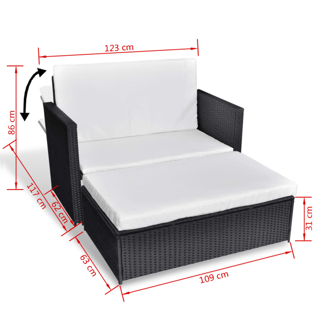 vidaXL 3 in 1 Sofabed Set Folding Rattan Sofa Bed Furniture Set ...