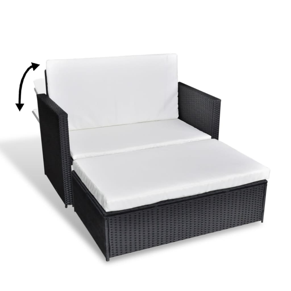 vidaxl 3 in 1 sofabed set folding rattan sofa bed. Black Bedroom Furniture Sets. Home Design Ideas