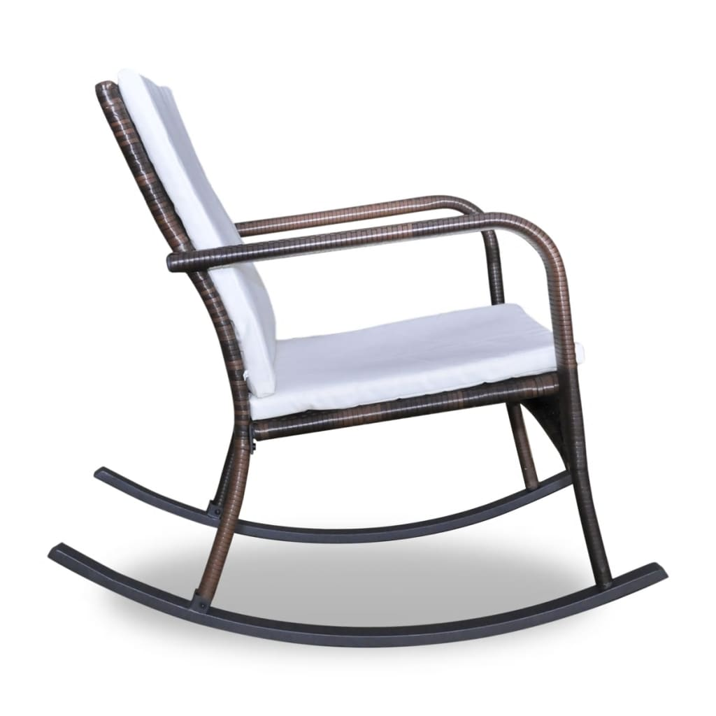 new garden rocking chair with upholstered cushions brown. Black Bedroom Furniture Sets. Home Design Ideas