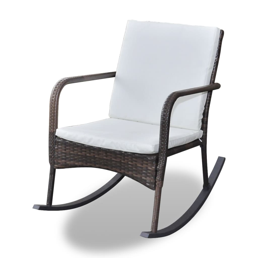 NEW Garden Rocking Chair with Upholstered Cushions Brown