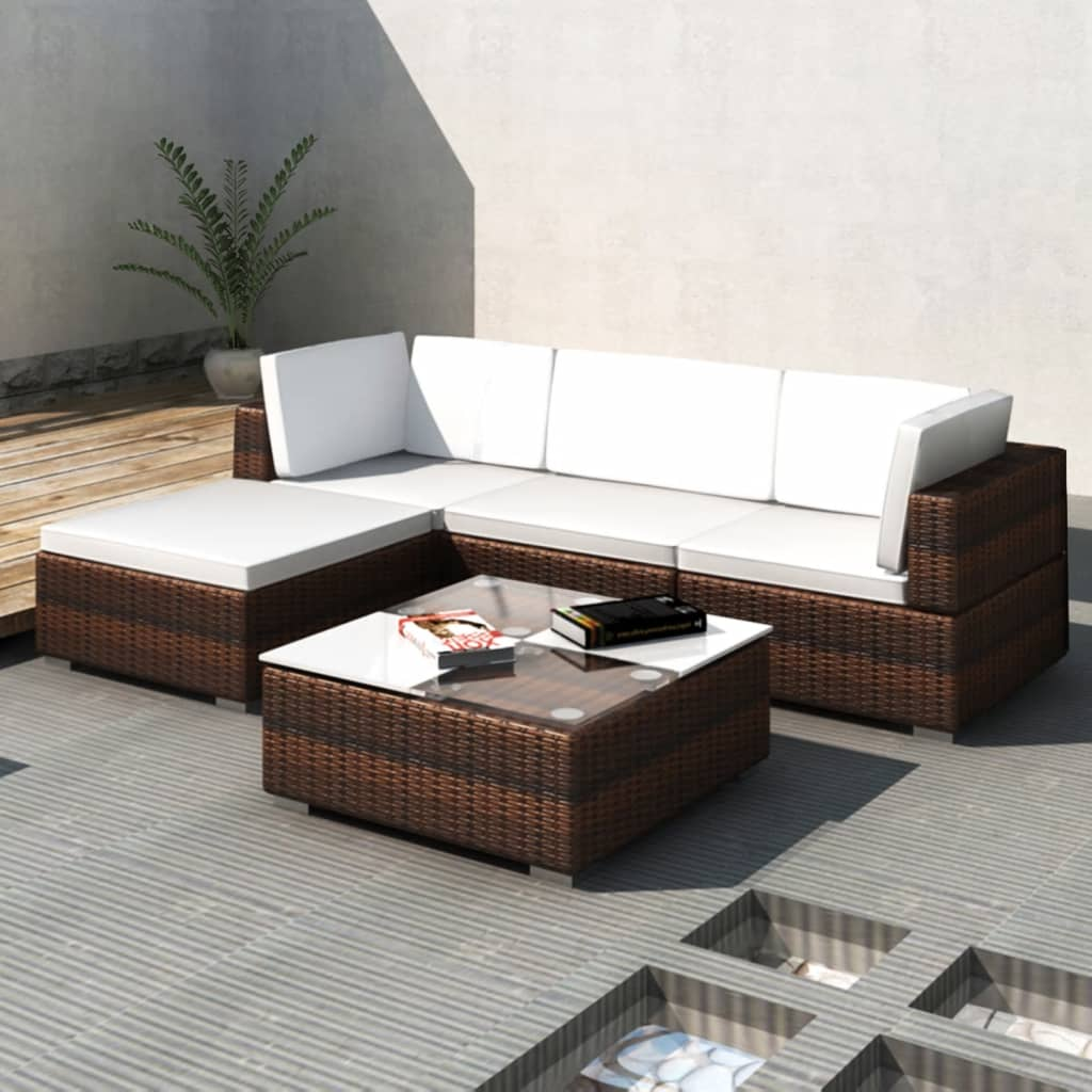 vidaxl garten ecklounge mit dach braun poly rattan im vidaxl trendshop. Black Bedroom Furniture Sets. Home Design Ideas