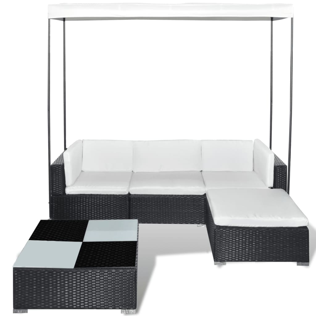 poly rattan set sofa set ecksofa gartengarnitur mit dach schwarz g nstig kaufen. Black Bedroom Furniture Sets. Home Design Ideas