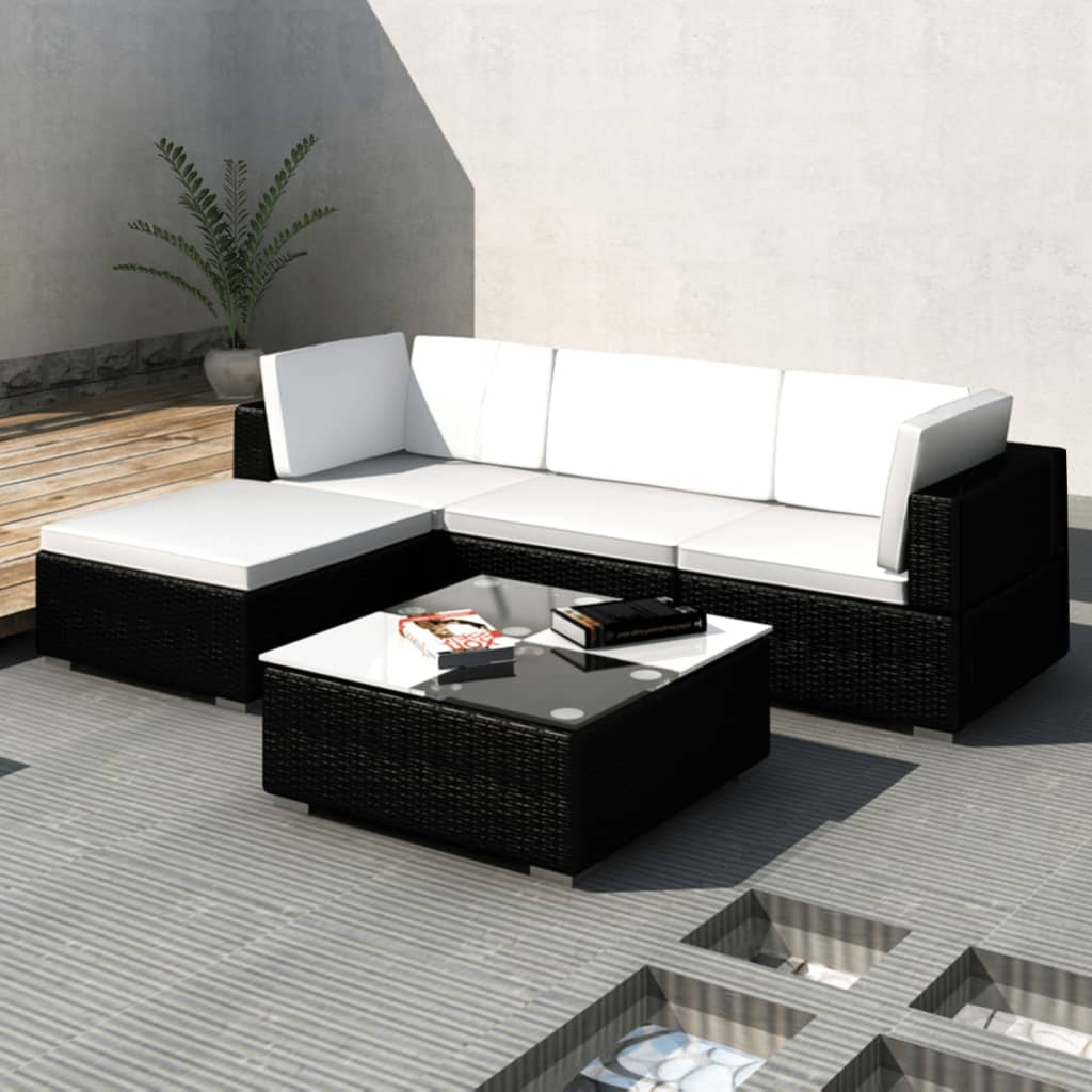 der poly rattan set sofa set ecksofa gartengarnitur mit dach schwarz online shop. Black Bedroom Furniture Sets. Home Design Ideas