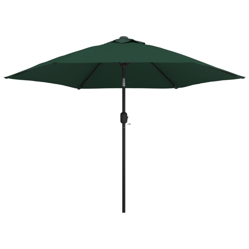 vidaXL 3 m átmérőjű napernyő acél tartórúddal zöld