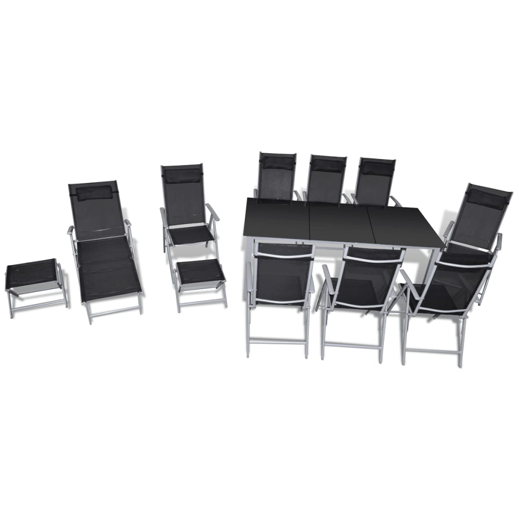 acheter vidaxl mobilier de jardin 12 pcs aluminium pas cher. Black Bedroom Furniture Sets. Home Design Ideas