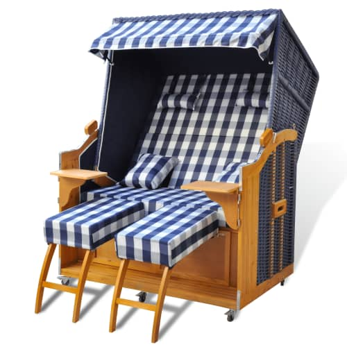 luxus strandkorb gartenliege strandstuhl 2 sitzer blau pe. Black Bedroom Furniture Sets. Home Design Ideas