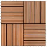 WPC carrelage de 11 pièces 30x30 cm pour terrasse-balcon-jardin brun