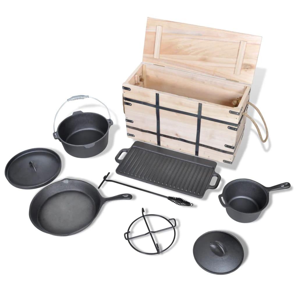 vidaXL Lot de casseroles batterie cuisine 9 pcs Cet ensemble de casseroles inclut tous les outils dont vous avez besoin pour le barbecue ou le pique-n
