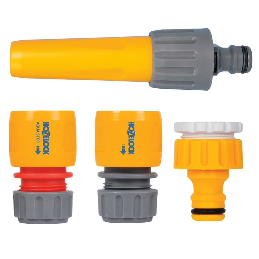 Hozelock négy darabos tömlőcsatlakozó és szórófej készlet sárga 2355P6001