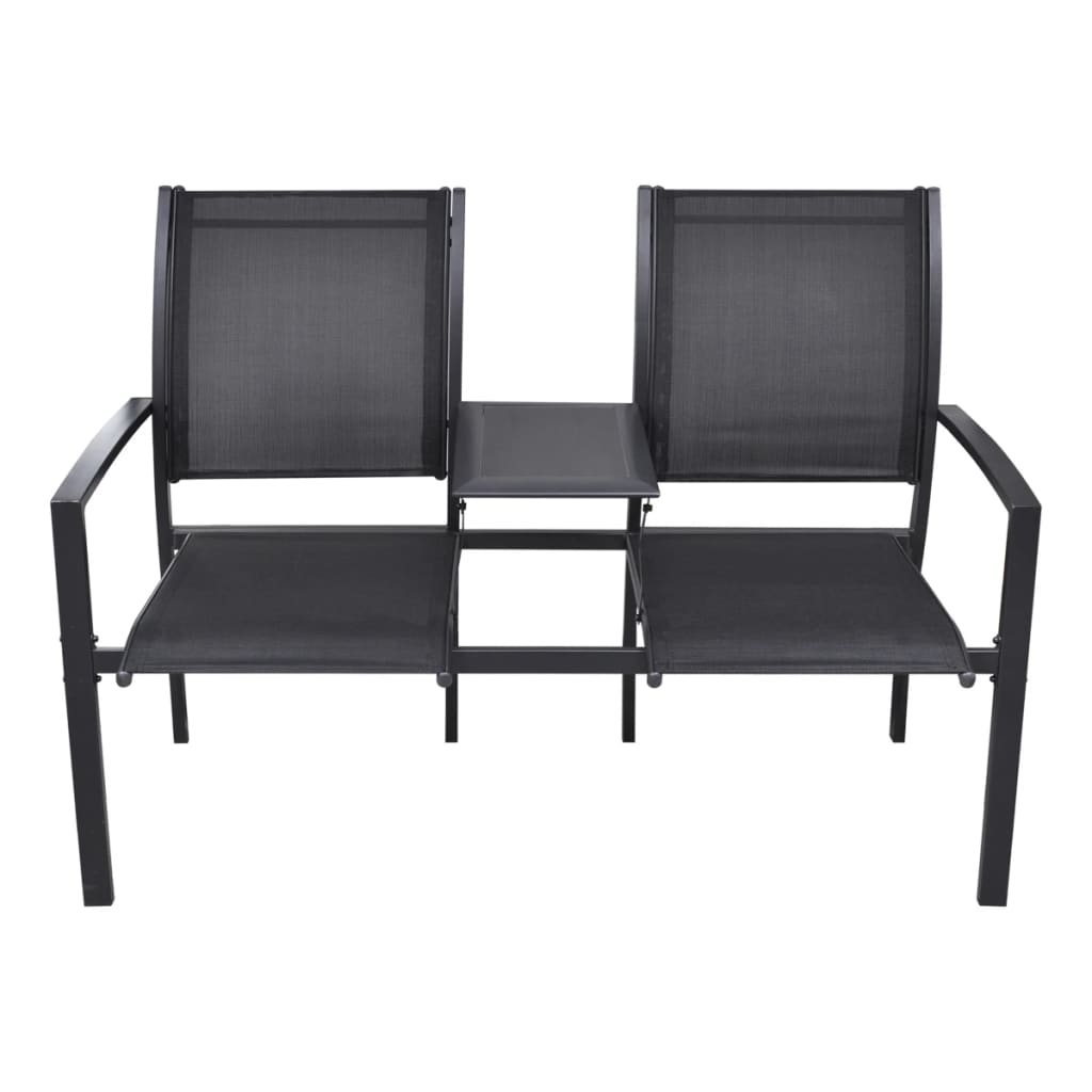 Outdoor 2 Textilene Seat Black Chair Amp Table Steel Bench