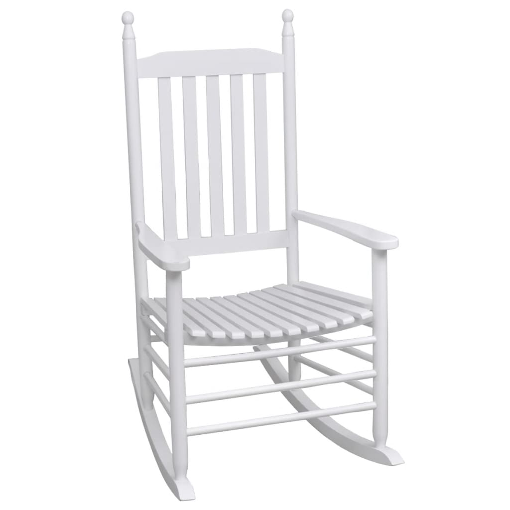 vidaXL fehér fa hintaszék ívelt ülőfelülettel