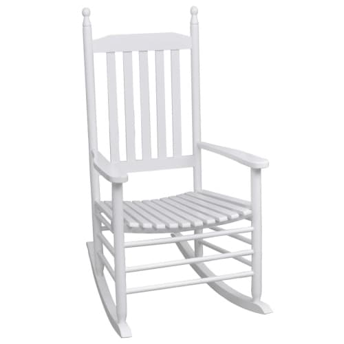 New Wood Rocking Chair White Curved Slat Seat Armrest Garden Patio ...