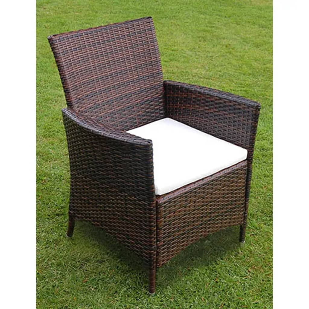 Vidaxl brown poly rattan garden furniture set 1 table 6 for Garden furniture chairs