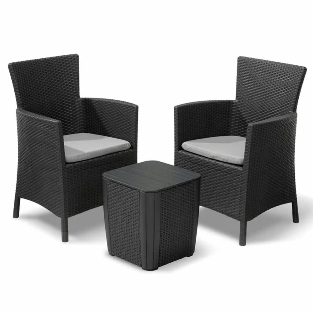 Allibert conjunto de muebles de jard n iowa 3 piezas gris for Rebajas muebles de jardin