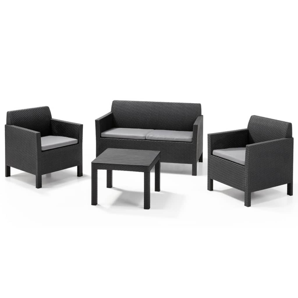 Allibert set mobili da giardino orlando 4 pz grafite for Set mobili da giardino