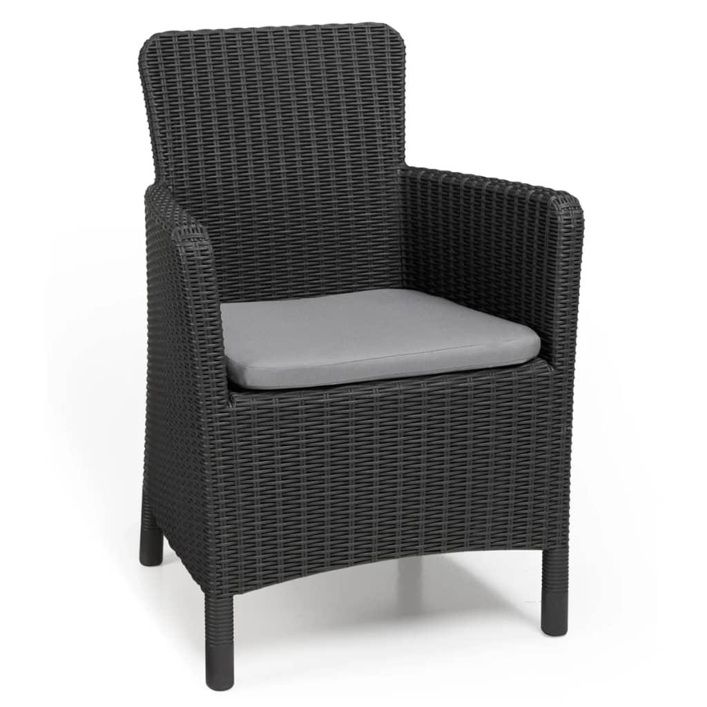 Allibert silla de comedor de jard n trenton gris grafito for Silla comedor gris