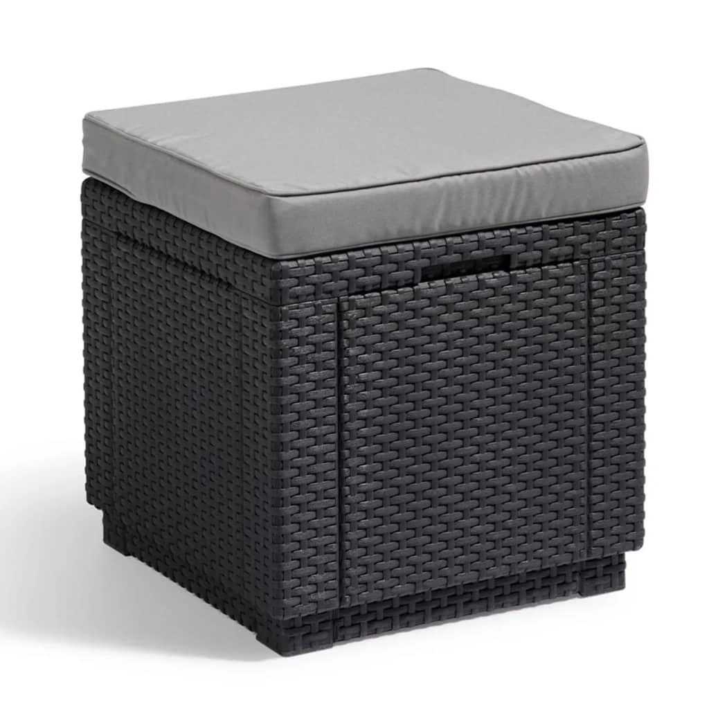 acheter allibert pouf de rangement cube graphite pas cher. Black Bedroom Furniture Sets. Home Design Ideas