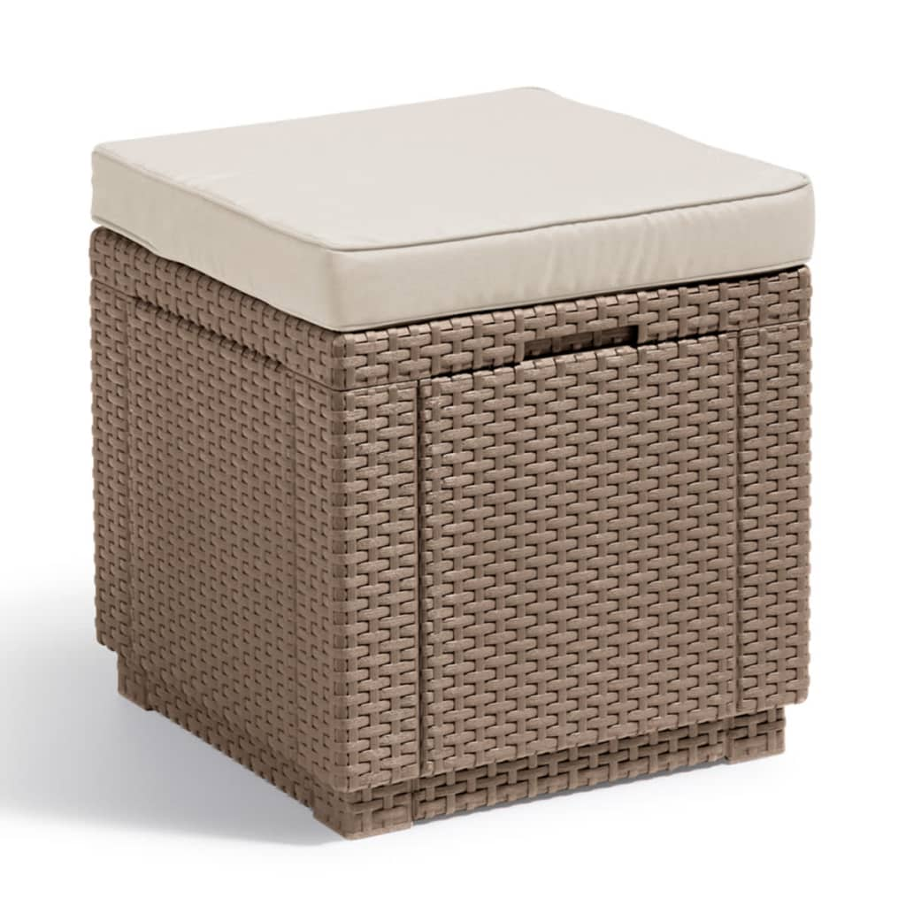 acheter allibert pouf de rangement cube cappuccino pas. Black Bedroom Furniture Sets. Home Design Ideas