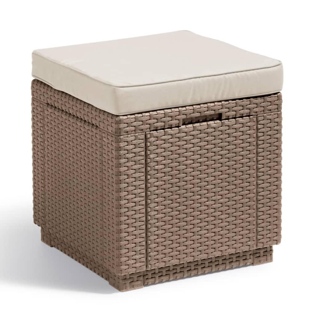 acheter allibert pouf de rangement cube cappuccino pas cher. Black Bedroom Furniture Sets. Home Design Ideas