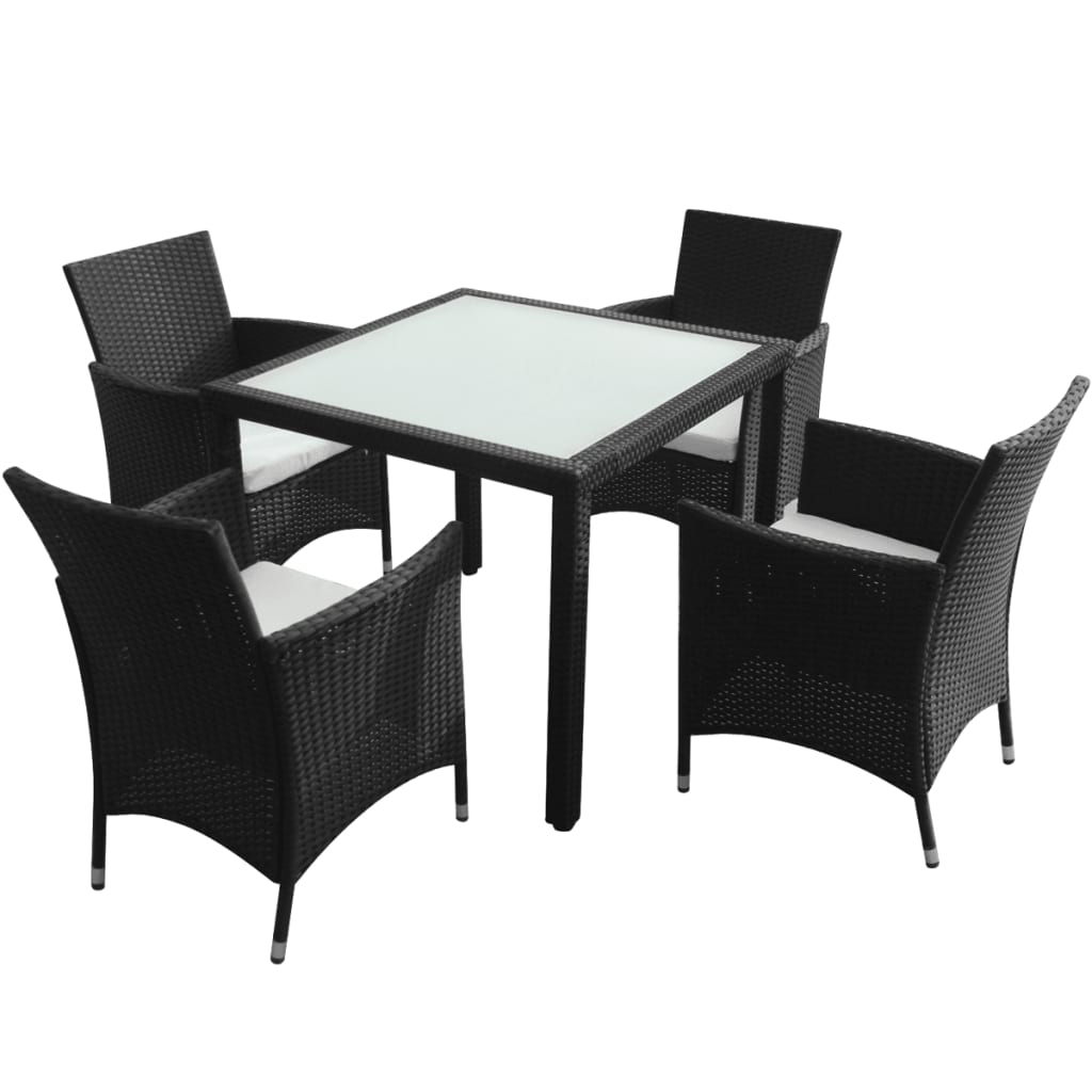 vidaxl black poly rattan garden furniture set 1 table 4. Black Bedroom Furniture Sets. Home Design Ideas