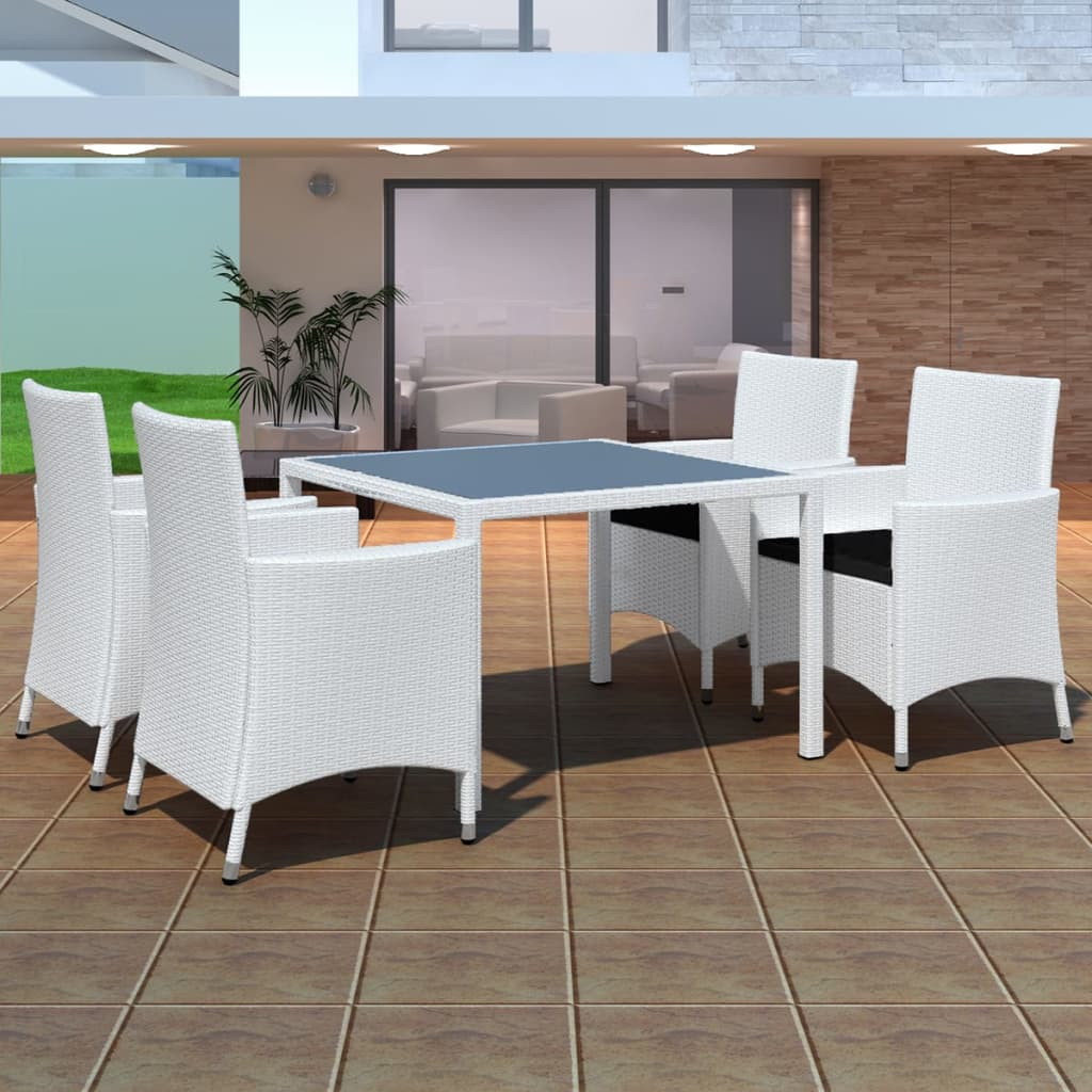 la boutique en ligne ensemble de jardin rotin blanc 4 chaises et 1 table. Black Bedroom Furniture Sets. Home Design Ideas