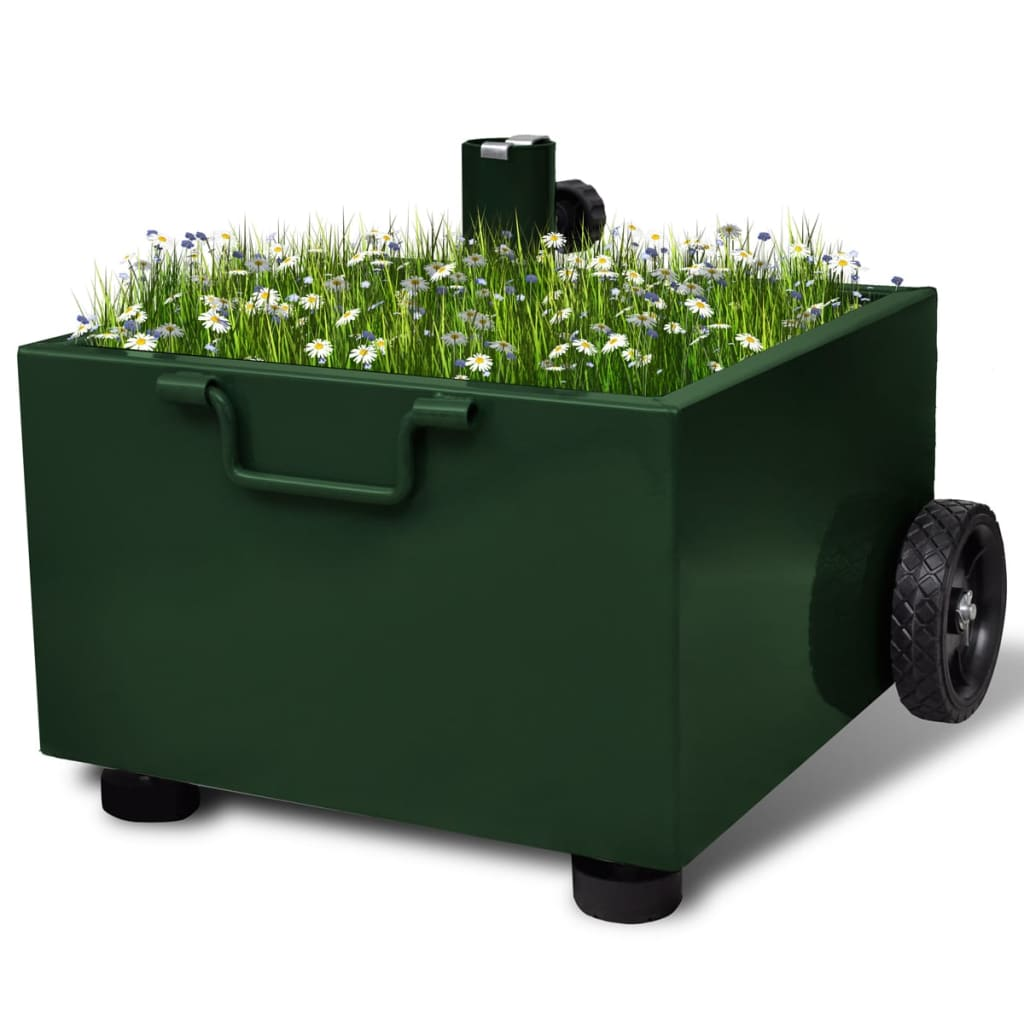 vidaXL Outdoor Umbrella Stand Plant Pot Green
