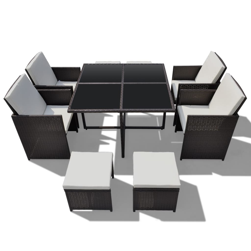poly rattan gartenm bel essgruppe gartenset 4 st hle 4 hocker g nstig kaufen. Black Bedroom Furniture Sets. Home Design Ideas
