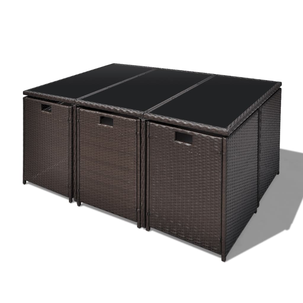 poly rattan gartenm bel essgruppe set braun tisch 6 st hle 4 hocker. Black Bedroom Furniture Sets. Home Design Ideas