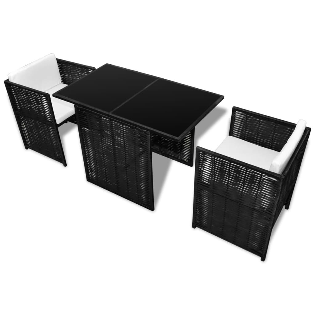 vidaxl gartenm bel set mit 2 st hlen schwarz polyrattan g nstig kaufen. Black Bedroom Furniture Sets. Home Design Ideas
