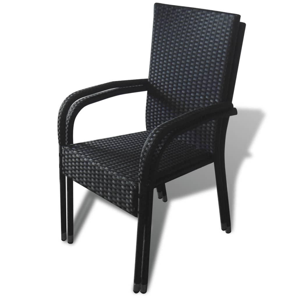 Black poly rattan garden furniture 2 pcs dining chair set for Furniture chairs