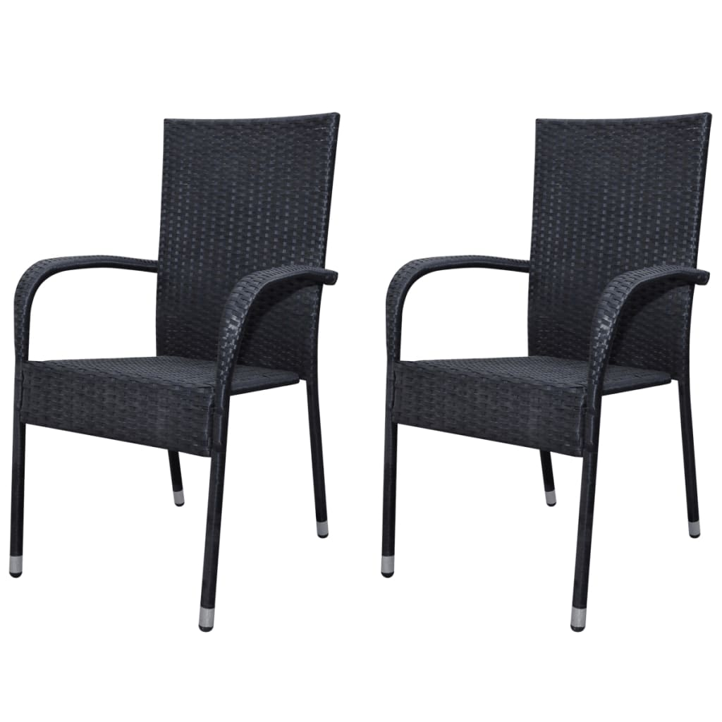 Black poly rattan garden furniture 2 pcs dining chair set for Garden furniture chairs